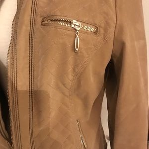 Kate & Mallory Moto jacket, Tan, S zips, nice&warm
